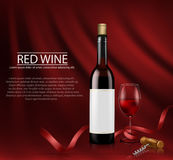Realistic vector illustration. poster with glass wine bottl and glass with red wine Royalty Free Stock Images
