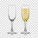Realistic vector illustration set of transparent champagne glasses with sparkling white wine and empty glass. Transparent on background Royalty Free Stock Photography