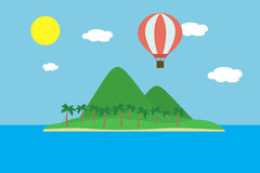 Realistic vector illustration of tropical island with hills and palm trees and hot air balloon flying between clouds on blue sky w Royalty Free Stock Image
