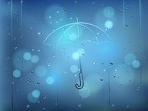 Realistic vector illustration of water drops on window with fing Stock Image