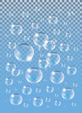 Realistic vector isolated Soap Bubbles on the blue background. Royalty Free Stock Images