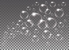 Realistic vector isolated Soap Bubbles for decoration Stock Photos