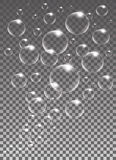 Realistic vector isolated Soap Bubbles for decoration. Realistic vector isolated Soap Bubbles Stock Images