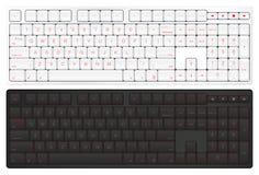 Realistic Vector Keyboard. Top View Computer Keyboard. Black and Vector Illustration