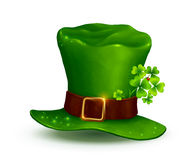Realistic vector Leprechauns green hat on white background Stock Photography