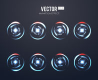 Realistic vector light effect rotating animation set for spinning loader or game load. Animation energy rotating and illustration dynamic energy stock illustration