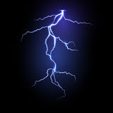 Realistic vector lightning in dark night sky Stock Images