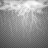Realistic vector lightning with rain and cloud on checkered background. Bright, electric lightning Royalty Free Stock Image