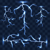 Realistic vector lightnings set on checkered background Stock Photos
