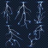 Realistic vector lightnings set on plaid transparent background Stock Photos