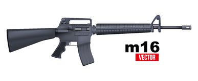 Realistic vector M16 rifle isolated on a white Royalty Free Stock Photos