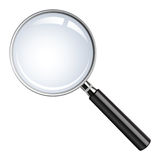 Realistic vector magnifying glass stock illustration