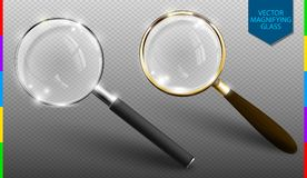 Realistic vector magnifying glass set on transparent background. Isolated icon of retro and modern lupe stock illustration