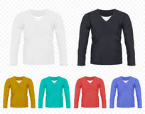 Realistic vector Men T-shirt with long sleeves set. Full editable different colors tshirt collection. Realistic vector Men T-shirt with long sleeves set. Full Stock Photo