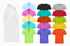 Realistic vector Men T-shirt set. Full editable different colors tshirt collection. Royalty Free Stock Image
