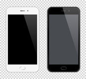 Realistic Vector Mobile Phone. Smartphone mock-up. Black and white phones on transparent background stock illustration
