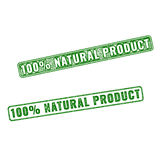 Realistic vector Natural Product rubber stamp. Set of green realistic vector 100 percent Natural Product grunge rubber stamp isolated on white background Royalty Free Stock Images