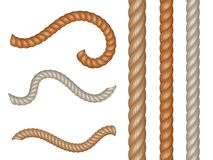 Realistic vector nautical cables and seamless rope stock illustration