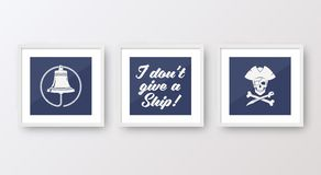 Realistic Vector Navy or Marine Picture Frames Set Stock Photo