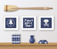 Realistic Vector Navy or Marine Picture Frames Set Royalty Free Stock Image