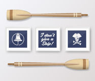Realistic Vector Navy or Marine Picture Frames Set Royalty Free Stock Photo