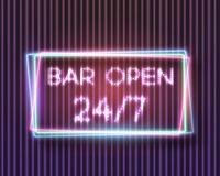 Realistic Vector Neon Sign Icon. Illustration of Vector Neon Sign. 24 7 Retro Neon Frame. Open 24 Hours Glowing Neon Sign Royalty Free Stock Images