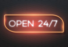 Realistic Vector Neon Sign. Illustration of Realistic Vector Neon Sign. 24 7 Retro Neon Frame. Open 24 Hours Glowing Neon Sign Stock Photos