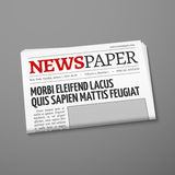 Realistic vector daily newspaper front page Stock Photography