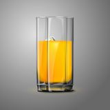 Realistic Vector orange juice glass with ice. Realistic Vector orange juice glass with ice isolated on gray background for design and branding. Transparent Royalty Free Stock Image