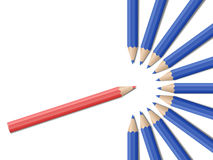Realistic vector pencils. Single red pencil in opposite from many blue pencils. Bussiness strategy. Competition, opposition. School supplies concept. Vector Stock Photography