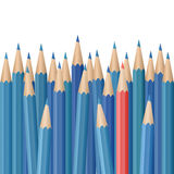 Realistic vector pencils. Single red pencil stands out amongst many blue pencils. School supplies concept. Vector illustration Royalty Free Stock Photo