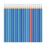 Realistic vector pencils. Single red pencil stands out amongst many blue pencils. School supplies concept. Vector illustration Royalty Free Stock Photography