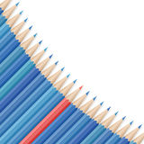 Realistic vector pencils. Single red pencil stands out amongst many blue pencils. School supplies concept. Space for text. Vector illustration Royalty Free Stock Images