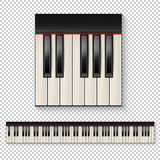 Realistic vector piano keys closeup isolated and keyboard icon set isolated on transparent background. Design template. Royalty Free Stock Photos