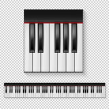 Realistic vector piano keys closeup isolated and keyboard icon set isolated on transparent background. Design template. Royalty Free Stock Photography