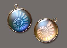 Realistic vector picture two lockets with fossil Ammonites N. pearly, pure and airy Jewel. stock photo