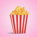 Realistic Vector Pop Corn in Stripped Tube Package Royalty Free Stock Photos