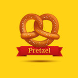 Realistic vector pretzel on the yellow background. Stock Image