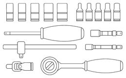 Realistic vector ratchet and socket set. Line art. Realistic vector ratchet and socket icon set. Mechanic service kit. Contour lines clip art illustration  on Royalty Free Stock Photography