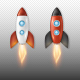 Realistic vector retro space rocket ship launch icon set isolate on transparent background. Template for project start Stock Image