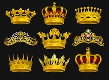 Realistic vector set of golden crowns and tiaras decorated with precious stones. Shiny headdress of royal person. Collection of golden crowns and tiaras stock illustration