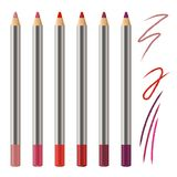 Realistic vector set of lip pencil mockup. Decorative cosmetic colored pencils. Red, pink, magenta color Cosmetic pencil Stock Images