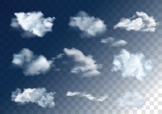 Realistic vector sky elements. Set of clouds on transparent back. Ground Stock Photography