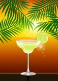 Realistic vector summer sunset poster with Margarita cocktail vector illustration