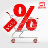 Realistic Vector Supermarket Cart with a Big Sale Percentage 3D Sign. Shopping, Big Discount Concept. Red Discount Tag. Shopping Icon Stock Photos