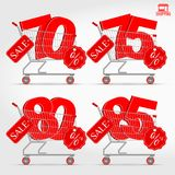Realistic Vector Supermarket Cart with 3D Sale Percentage Numbers. Shopping, Discount Concept. 70 - 75 - 80 - 85 Percent Discount Stock Photo