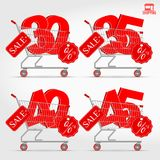 Realistic Vector Supermarket Cart with 3D Sale Percentage Numbers. Shopping, Discount Concept. 30 - 35 - 40 - 45 Percent Discount Stock Photos