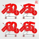 Realistic Vector Supermarket Cart with 3D Sale Percentage Numbers. Shopping, Discount Concept. 50 - 55 - 60 - 65 Percent Discount Royalty Free Stock Images