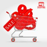 Realistic Vector Supermarket Cart Full of 3D Sale Percentage Numbers royalty free illustration