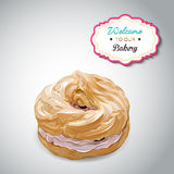 Realistic vector sweet cute colorful donut with Royalty Free Stock Image